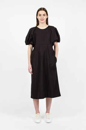 Dot Volume Sleeve Crew Neck Dress
