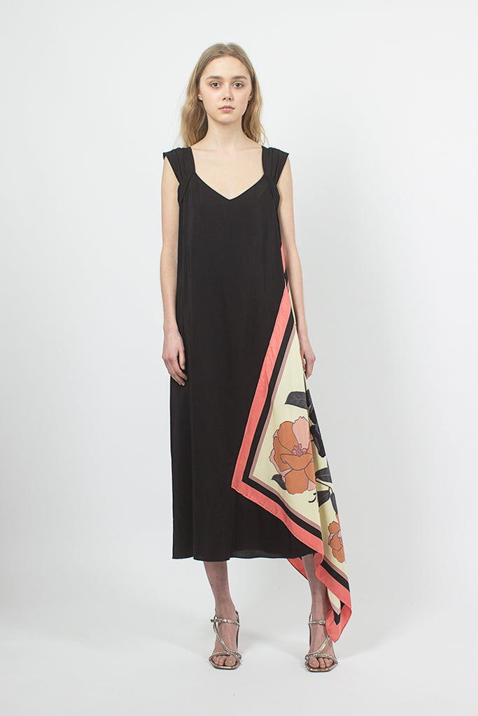 Black Dress With Silk Scarf Panel