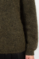 Olive Mohair Crewneck
