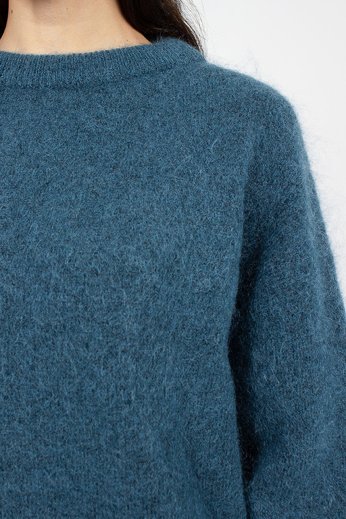 Teal Blue Mohair Crewneck