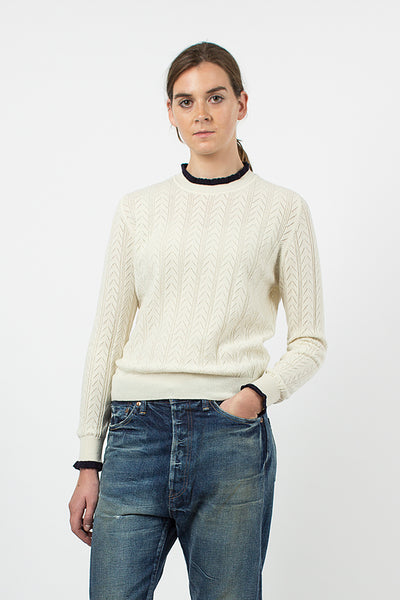 Ecru/Navy Ennis Pointelle Knit