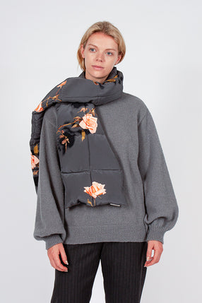 Grey Floral Felice Quilted Scarf