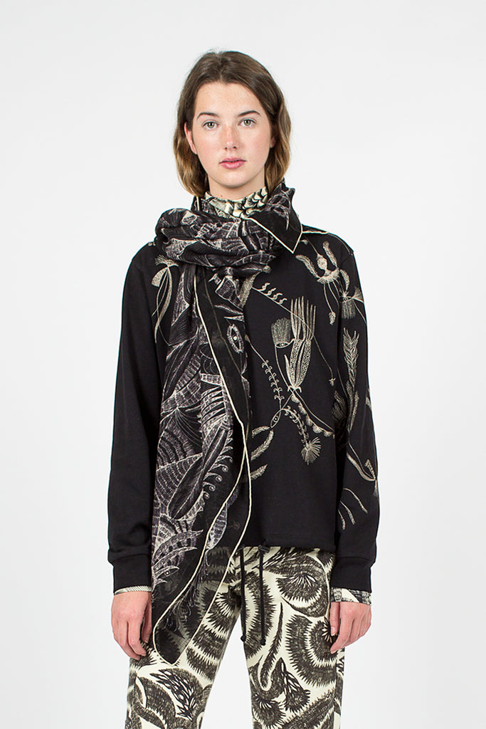 Eye and Feather Printed Black Scarf