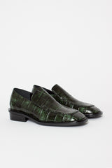 Forest Green Crocodile Stamped Leather Loafer