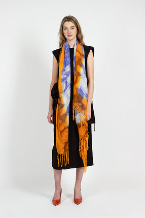 Blue/Orange Floral Print Scarf