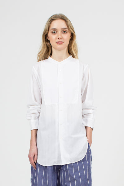 White Stripe Cotton Poplin Frock Shirt