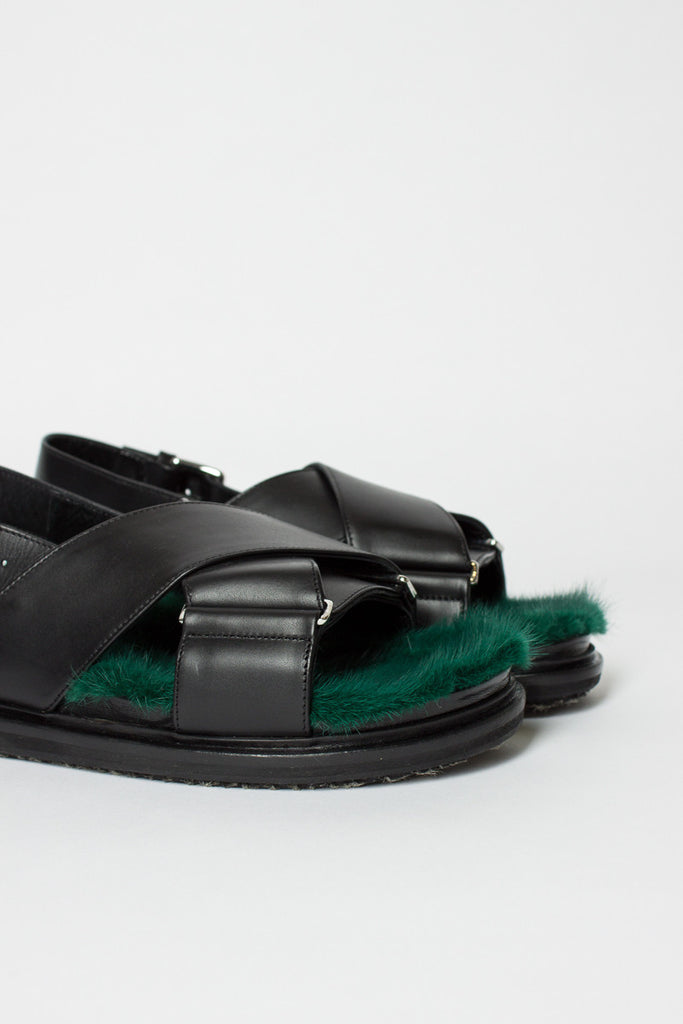 Black/Green Fussbett Sandal