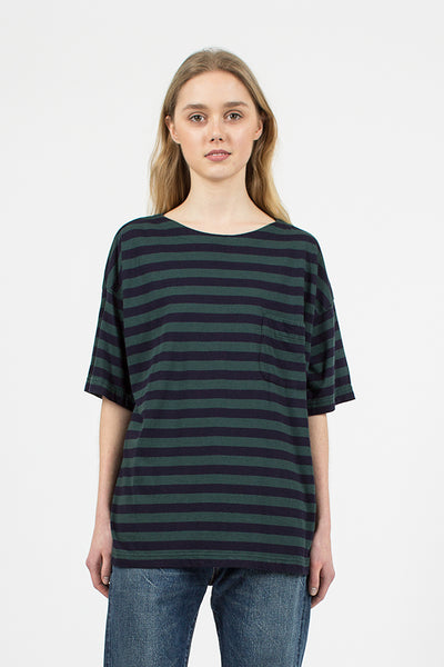 Green and Navy Border Pocket Tee
