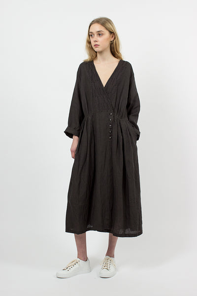Embroidered Linen Wrap Dress Charcoal