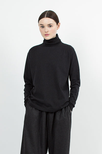 Heather Black Turtle Neck Pullover