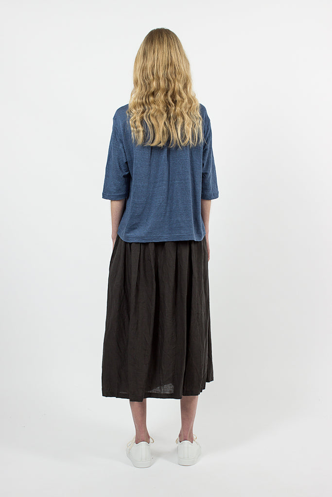 Embroidered Linen Skirt Charcoal
