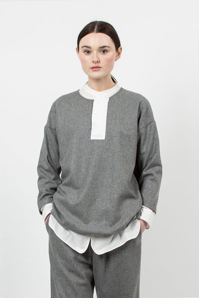 Grey Big Henley Neck Shirt