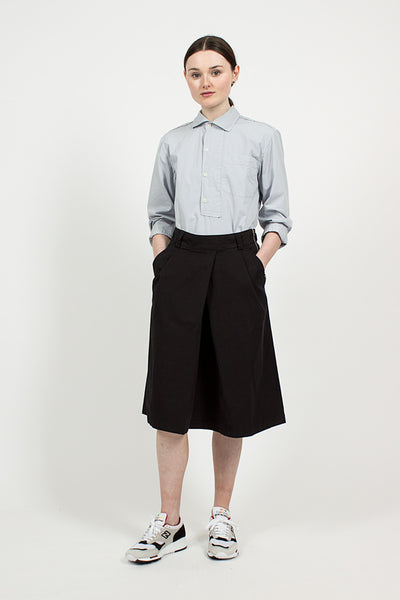 Black Cotton Twill Overall Skirt