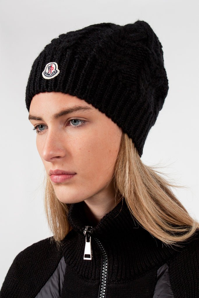 Black Cable Knit Hat