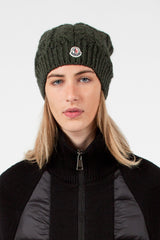 Dark Green Cable Knit Hat