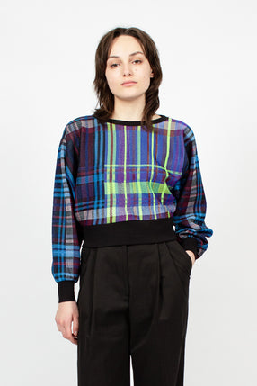 Plaid Cropped Jersey Top