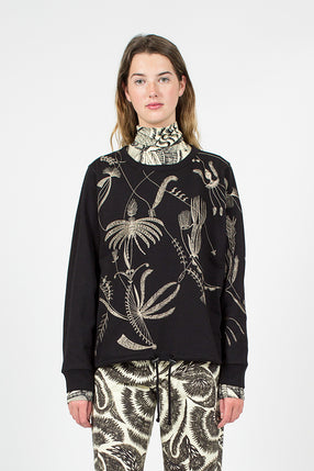 Feather Embroidered Black Sweater