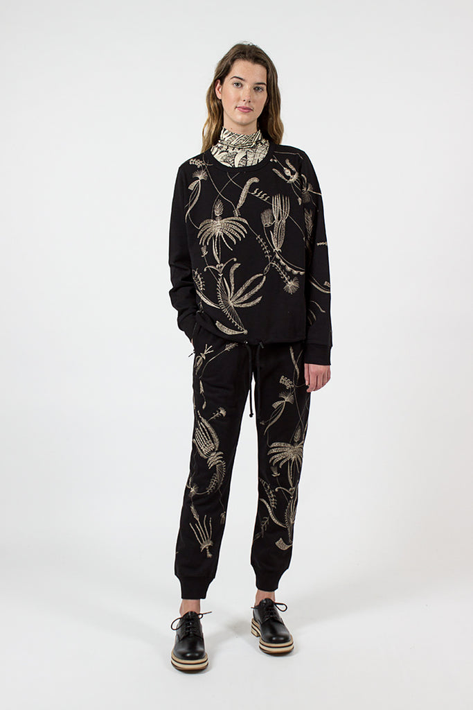 Floral Embroidered Pants