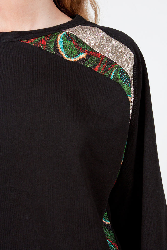 Black/Multicoloured Feather Detail Sweater