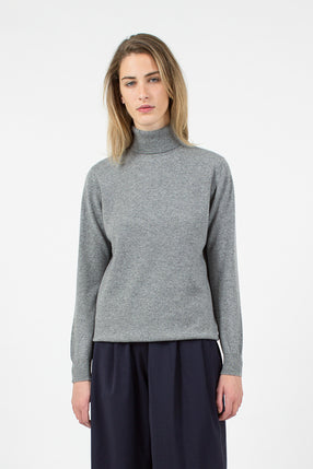 Casla Cashmere Roll Neck Flannel Grey