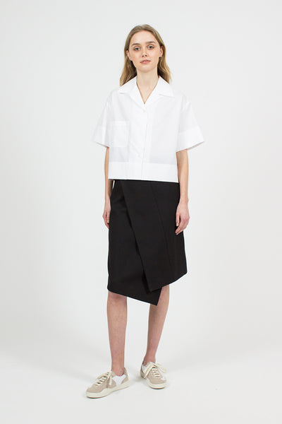 Hoish Black Structured Wrap Skirt