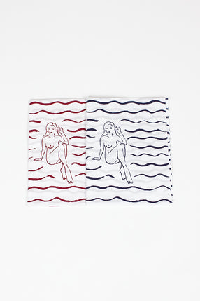 Tenugui Towel 2 Pack Blue/Red