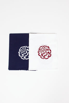 Tenugui Little Cloud Towel 2 Pack Blue/Red