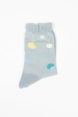Metallic Thread Polka Ankle Sock Blue
