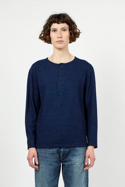Indigo Henry Neck T-Shirt