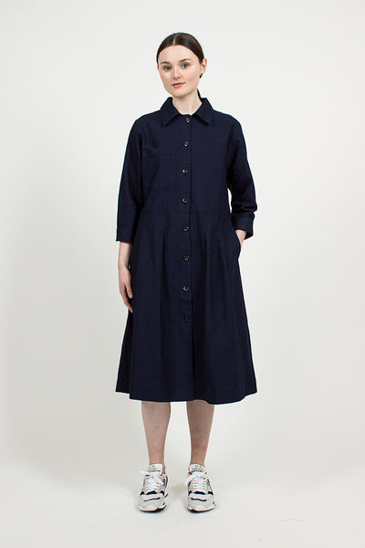 Indigo Cotton Canvas Army Dress
