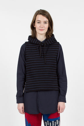 Black/Navy 20oz French Terry Stripe Hooded Interliner