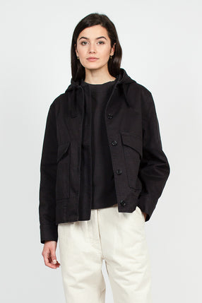 MHL Black Cotton Drill Hooded Jacket