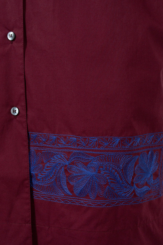 Jusso Embroidered Shirt Dress Red Wine