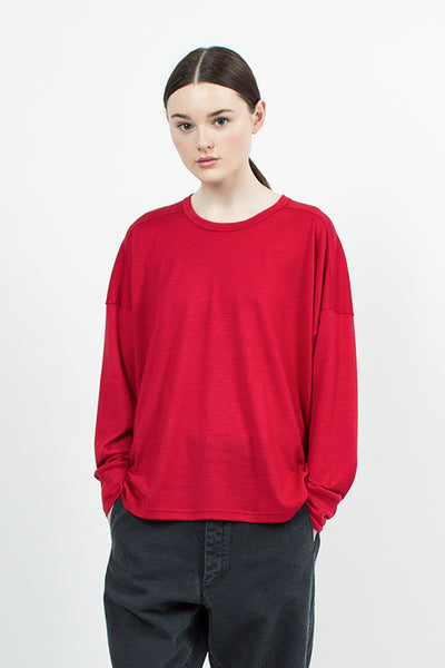 Red Fine Wool Tee