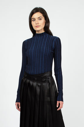 Midnight Blue Irregular Rib Sweater