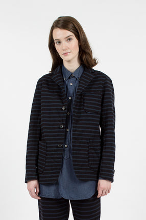 Black/Navy 20oz French Terry Stripe Knit Blazer