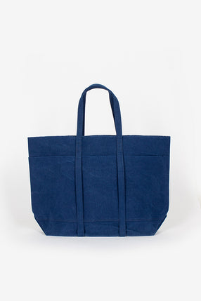 Washed Canvas 6 Pocket Tote Blue