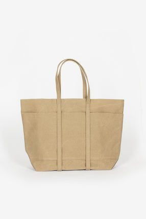 Washed Canvas 6 Pocket Tote Taupe