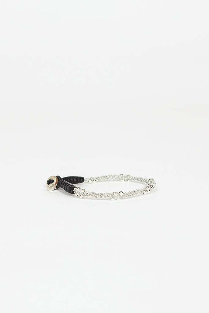 LYA Pewter/Leather Black Beaded Bracelet