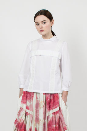 White Lace Panel Top