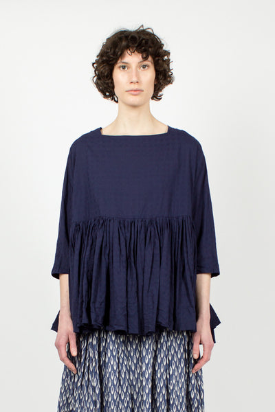 Navy Pleated Twill Top