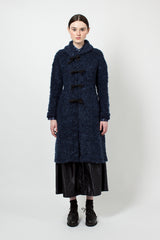 Navy Boucle Shawl Knit Jacket