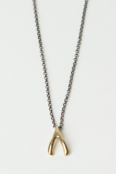 Yellow Gold Wish Bone Necklace