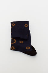 Night Blue Deco Jacquard Sock