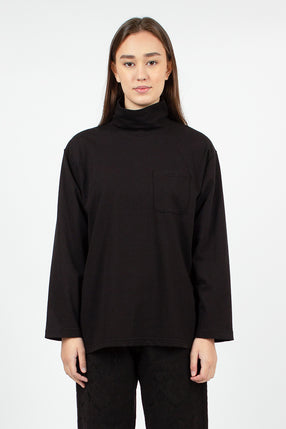 Mock Neck Black PC Jersey Top