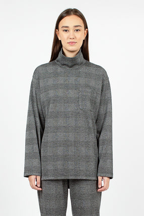 Mock Turtle Grey PC Knit Glen Plaid