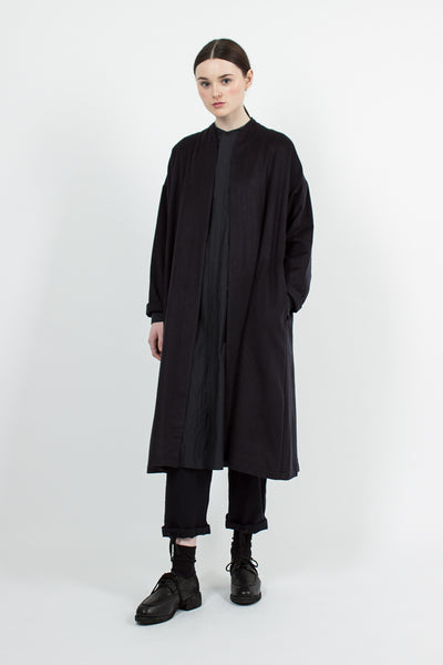 Dark Navy Inverted Pleats Robe Coat