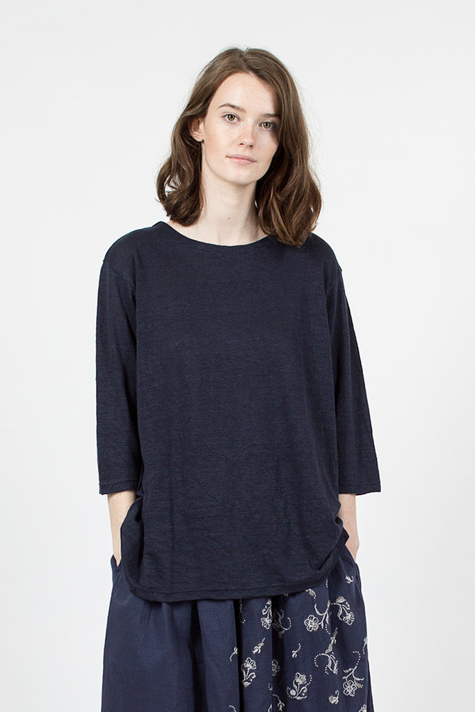 Navy 3/4 Length Sleeve Linen T-shirt