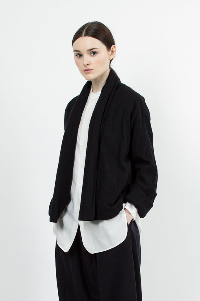 Navy Black Stole Collar Jacket