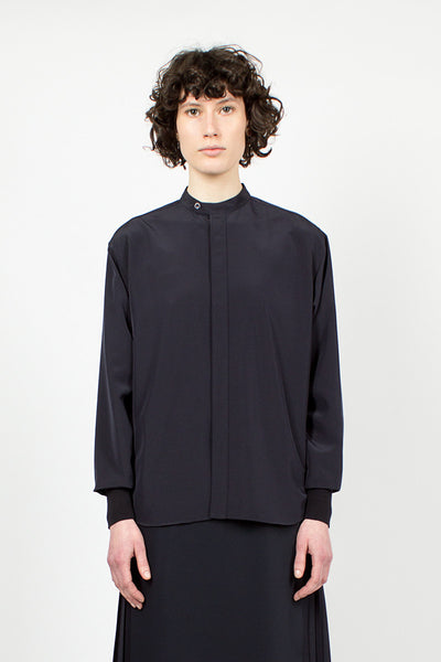 Navy Banded Collar Shirt